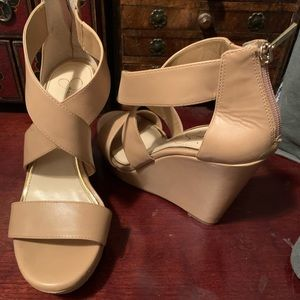 Jessica Simpson wedges in nude